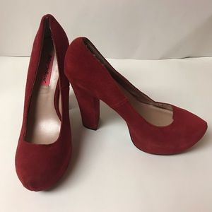 Red suede Betsey Johnson pumps